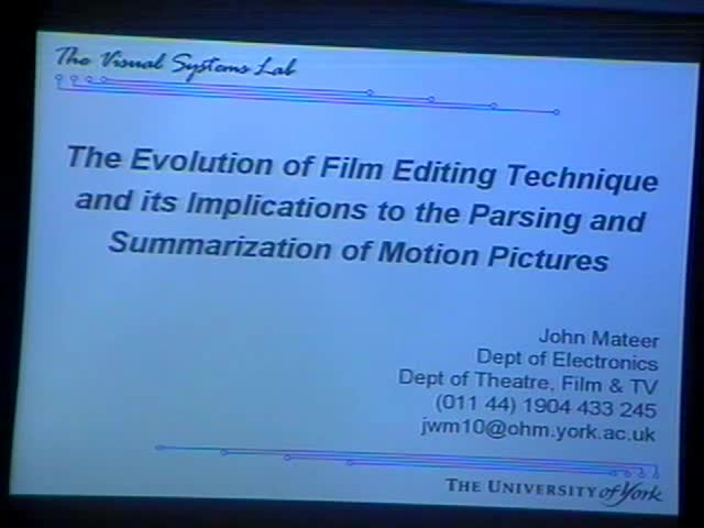 The Evolution of Film Editing Technique and Its Implications to the Parsing and Summarization of Motion Pictures Thumbnail